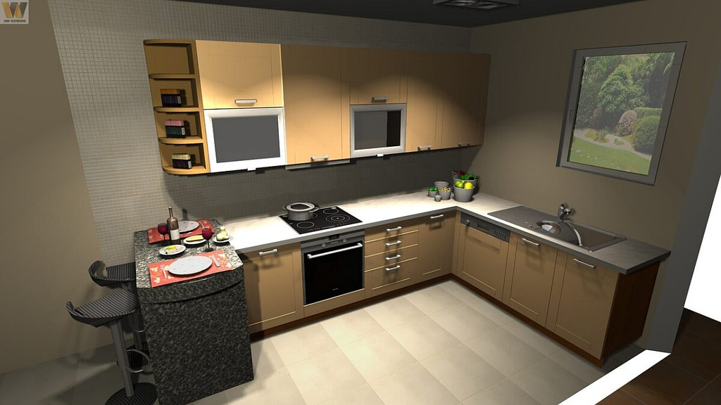 l shaped kitchen modular interior